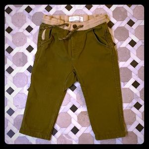 Zara Baby Army Green Cotton Canvas Pants-9/12 Mo